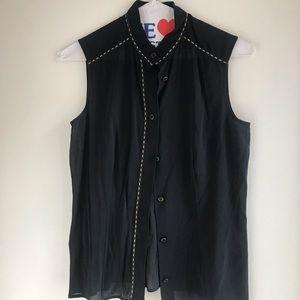 Fendi black button down tank shirt